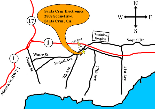 Map to Santa Cruz Electronics
